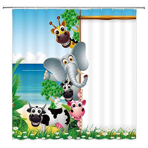 N\A Cartoon Zoo Duschvorhang Lustiges Tier Tropischer Strand Weißer Display Grüne Bäume Dekor Blau Kinder Stoff Badezimmer Gardinen, Wasserdichtes Polyester mit Haken