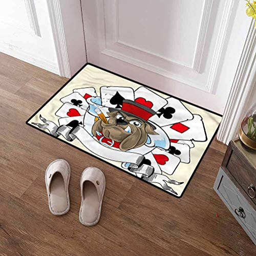 SCOCICI1588 Pet Mat Poker Tournament, Bulldog with Cards Printed Doormat for Entry, Patio, High Traffic 31 x 47 Inch