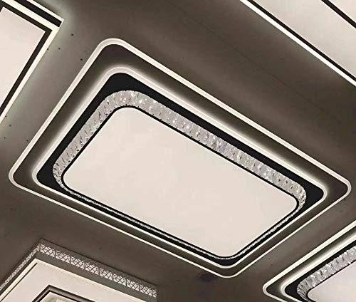 Led Lámpara De Techo,Plafon De Techo Salon,Lampara De Techo Dormitorio Cocina,Lámparas Cálidas De Hogar Atmosféricas, Regulables, Con Mando A Distancia, Rectangulares 96X68Cm