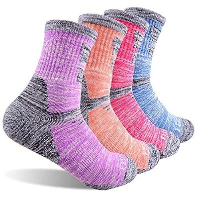 Women's Hiking Walking Socks, FEIDEER 4-Pack Outdoor Recreation Socks Wicking Cushion Crew Socks (TJ-2-4WS19104-M)