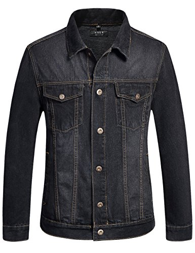 SSLR Men's Classic Solid Button Down Denim Jacket (Large, Black Grey)