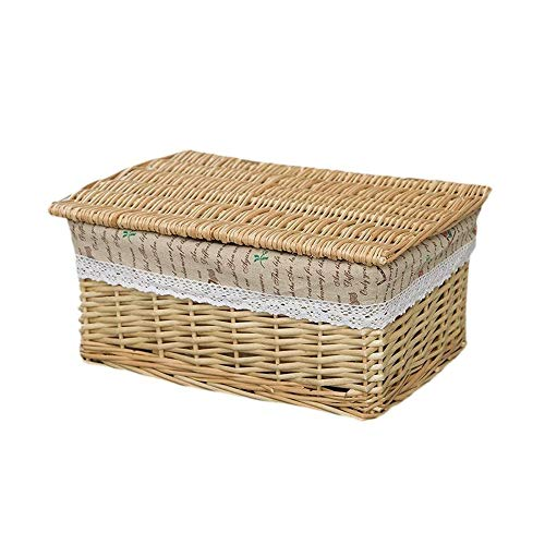 ZHICHUAN Child Candy Snacks Storage Basket Office Debris Storage Box with a Lid Carrying Basket Wicker Storage Organizer Handmade Basket / 30 * 20 * 12cm / C