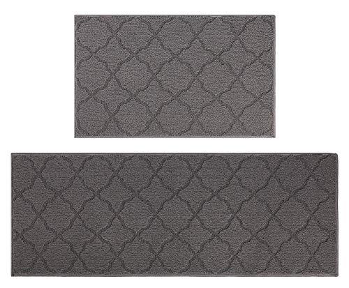 Aonewoe Rutschfester Teppich Set 2 Stück Maschinenwaschbarer Küchenteppich Schmutzfänger Polypropylen Bodenmatte für Wohnzimmer, Küche, Flure und Außenbereich (45x70cm + 45x120cm)