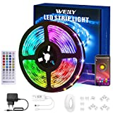 WEILY Tiras LED 15M Bluetooth, Control de aplicación Inteligente Flexible RGB Cambio de Color Música Sincronización Tira de luz...