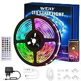 WEILY Tiras LED 15M Bluetooth, Control de aplicación Inteligente Flexible RGB Cambio de Color Música Sincronización Tira de luz LED con Conector en Forma de L