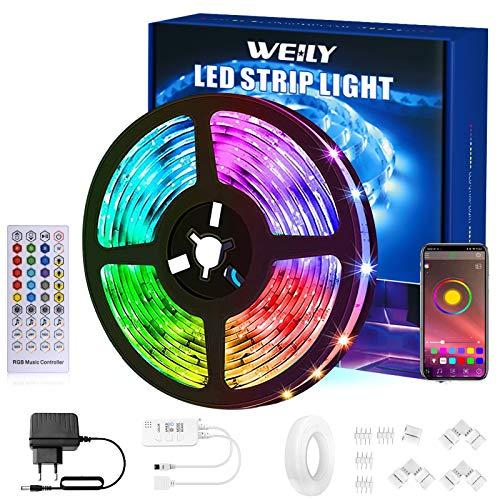 Tiras LED 15M Bluetooth,WEILY Control de aplicación tira led inteligente Flexible RGB Cambio de Color Música Sincronización Tira de luces led con Conector en Forma de L