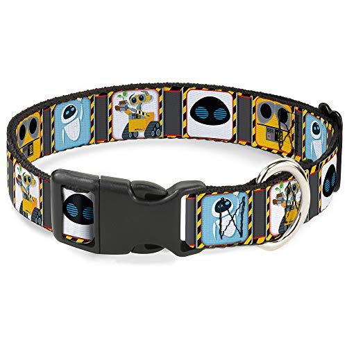 Buckle Down Walle y EVA Pose/Cara del Peligro Bloques Gris/Amarillo/Negro plástico Clip Collar