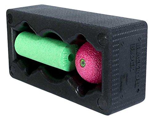 BLACKROLL BLOCK SET - das Original. Yoga-Block mit abgestimmtem Faszien-Ball und kleiner Faszien-Rolle, schwarz/grün/pink