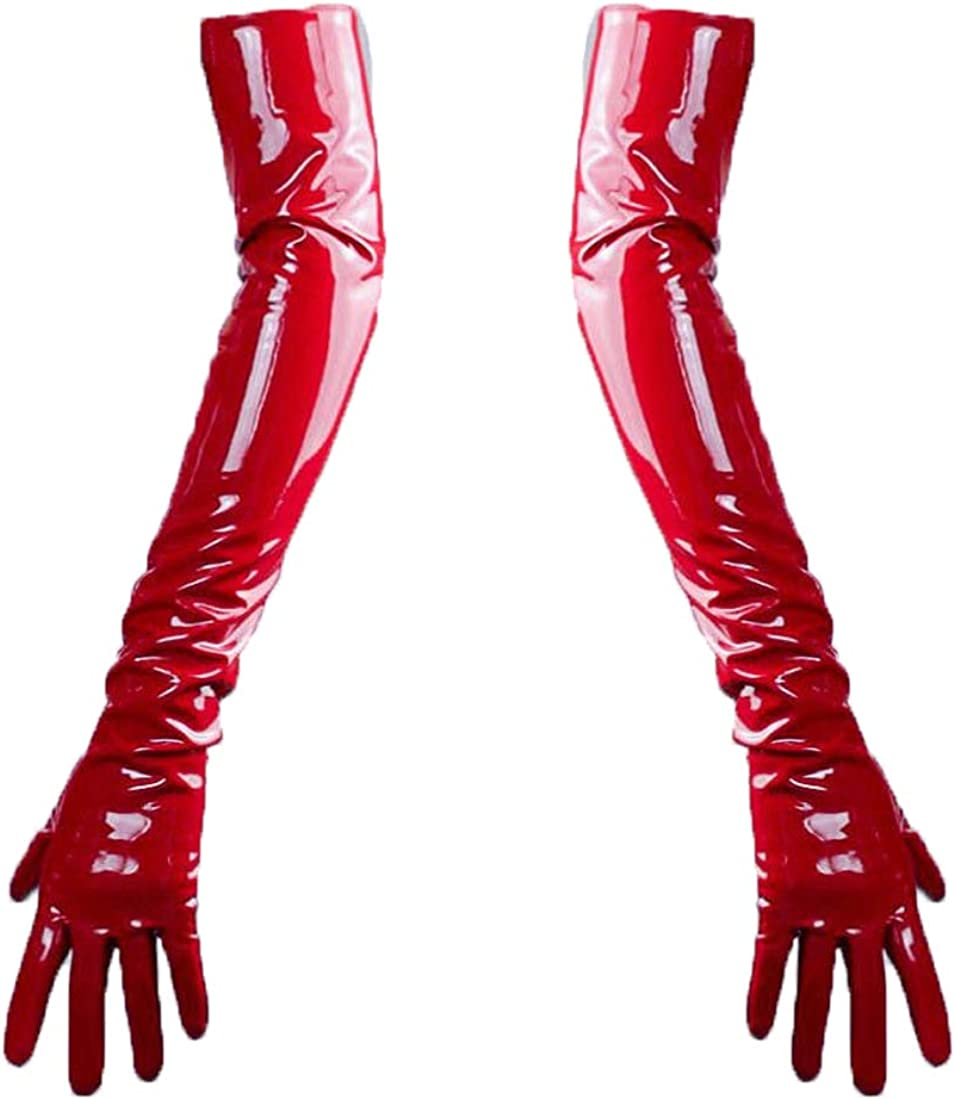 Shine Red Gloves Faux Patent Leather Wrist Long 60cm Cosplay Costume Wedding