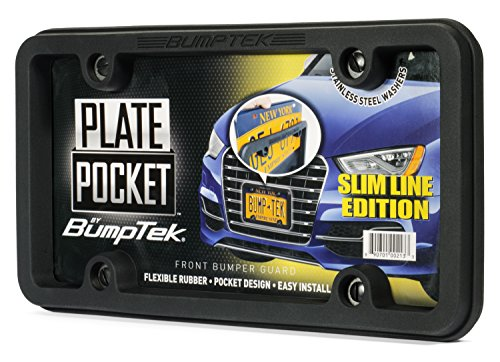 BumpTEK Plate Pocket (Slim LINE Edition) Flexible Rubber Front Bumper Guard, Front Bumper Protection, License Plate Frame. Flexible Rubber Cushions Parking Bumps!