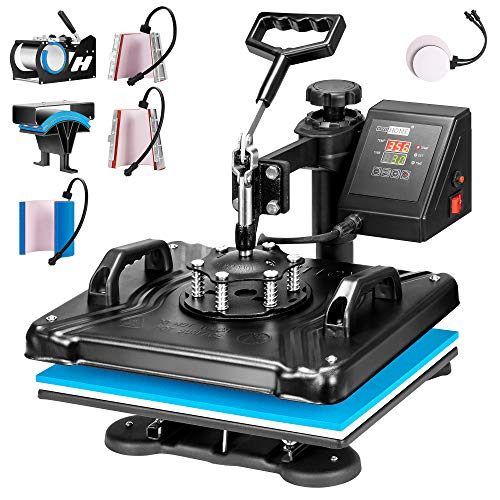 VIVOHOME 8 in 1 Combo Multifunctional Swing Away Clamshell Printing Sublimation Heat Press Transfer Machine for T-Shirt Hat Cap Mug Plate 15 x 12 Inch Blue and Black