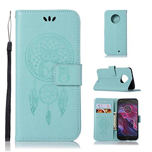 LMAZWUFULM Hülle für Motorola Moto X4 (5,2 Zoll) PU Leder Magnetverschluss Brieftasche Lederhülle Eule & Traumfänger Muster Standfunktion Ledertasche Flip Cover für Motorola X4 Grün