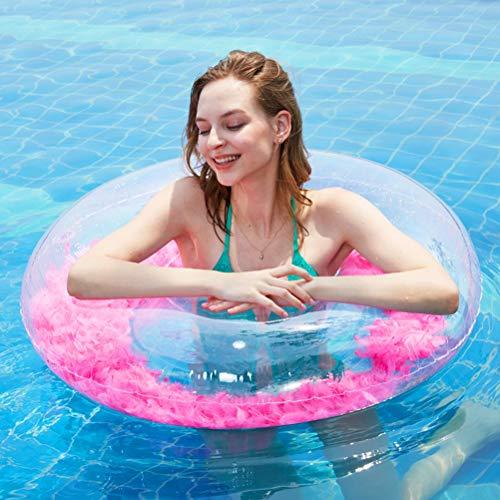 Creacom Anillo de natación Transparente, Anillo de natación Transparente 70cm / 90cm Flotadores de Piscina Transparentes Redondos Flotador de Piscina Inflable de Verano Juguetes de Agua 70cm Rosa