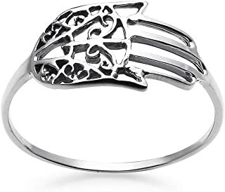 925 Sterling Silver Hamsa Fatima Hand Charm Ring | Size 5 to 10 | Vintage Filigree Jewelry