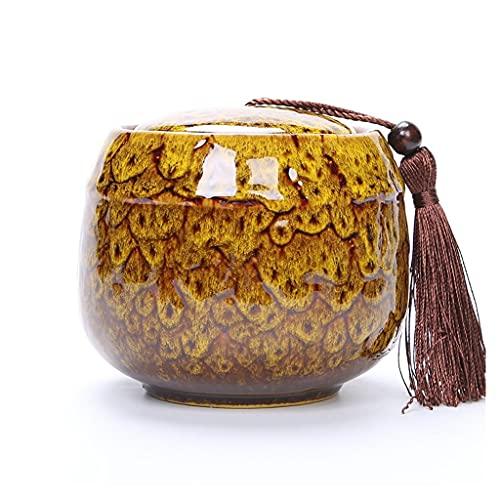 Urnas para Cenizas, Urnas funerarias, Cremation Ashes Ataket Urn, Ceramics Urns, Memorial Remembrance Urn para Adultos, Mascota Perro Gato, decoración del hogar (Color : Yellow, Size : 5 * 4.5cm)