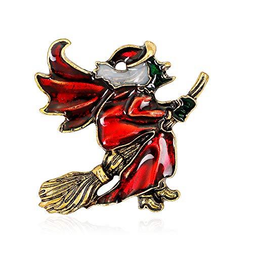 YAZILIND Halloween Witch Flight Mop Alloy Brooch Pin Corsage Women Accessories