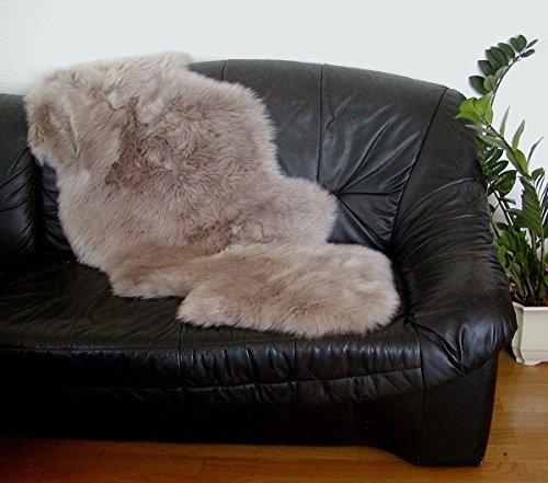 HEITMANN australische Doppel Lammfelle aus 1,5 Fellen Taupe gefärbt, vollwollig, 30 Grad waschbar, ca. 140x68 cm
