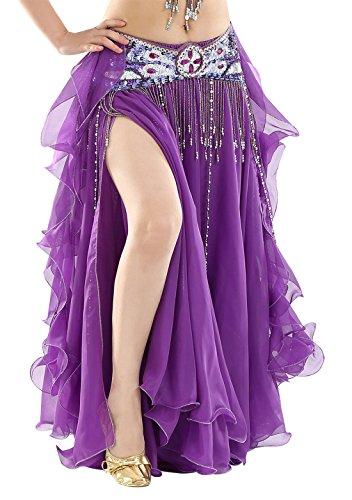 BellyQueen Abito da danza del ventre, da donna, stile orientale, per danza del ventre, colore: viola