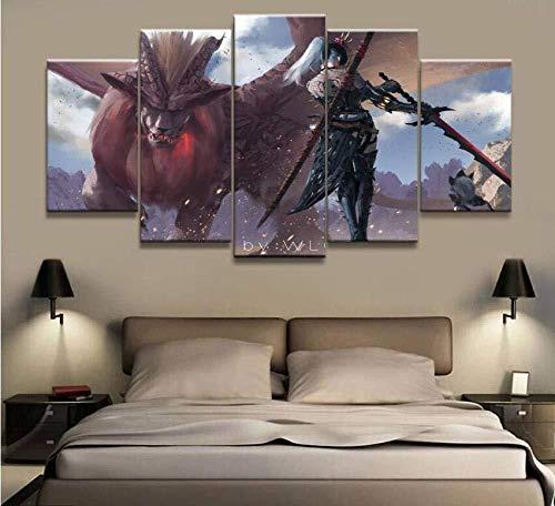 MIPINPAI Druck auf Leinwand 5 Paneele Wlop Ghost Blade Monster Hunter Spiel Poster Wohnzimmer Modulares Deko