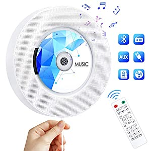CD Player with Bluetooth, Portable CD Music Player Wall Mountable, Home Audio Boombox with Remote Control FM Radio Built-in HiFi Speakers with MP3 Headphone 3.5 mm Jack/AUX Input Output