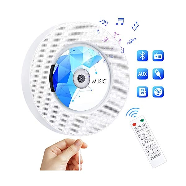 CD Player with Bluetooth, Portable CD Music Player Wall Mountable, Home Audio Boombox with Remote Control FM Radio Built-in HiFi Speakers with MP3 Headphone 3.5 mm Jack/AUX Input Output 3