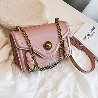 Adebie - New Small Women Crossbody Bags 2019 Motorcycle Shoulder Bag High Quality Flap Chains Fashion Messenger Bag Ladies Bolso Femenino Pink []