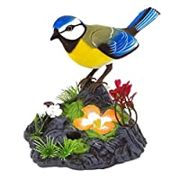 CLISPEED 現実的な鳴き鳥と甘い音電気おもちゃの鳥ペットの音活性化オウム鳥のおもちゃバッテリーなし黄色