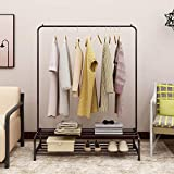 Metal Coat Rail Pipe Hanging Clothes Rail Heavy Duty Storage Shelf Metal for living room Indoor Brown