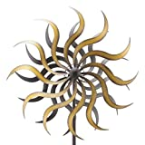 Edles Gartenwindrad - Kupfer - Metall - Ø 40cm/Höhe: 180cm - Wetterfest - Hochwertige Qualität & Stabiler Standstab - Gartenstecker/Metallwindrad/Windräder - Gartendeko