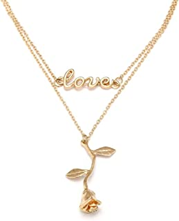 3D Rose Flower Love Letter Pendant Double Layer Necklace, Women's Vintage Gold Plated Choker Romantic Initial Statement Jewelry Valentine's Day Jewelry Gift