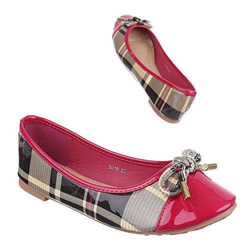 Ital-Design Ballerinas Damen-Schuhe Blockabsatz Moderne Ballerinas Pink, Gr 36, 5016-