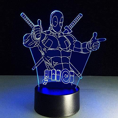 FUTYE Deadpool - Luz nocturna 3D óptica, decoración de velo, LED, bombilla...