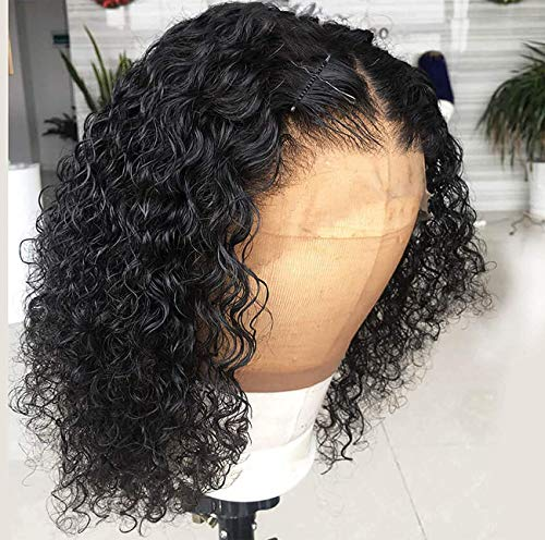 13x4 Deep Wave Lace Front Wigs Human Hair Pre Plucked Human Hair Wigs for Black Women Natural Looking Bob Curly Wig 8 Inch
