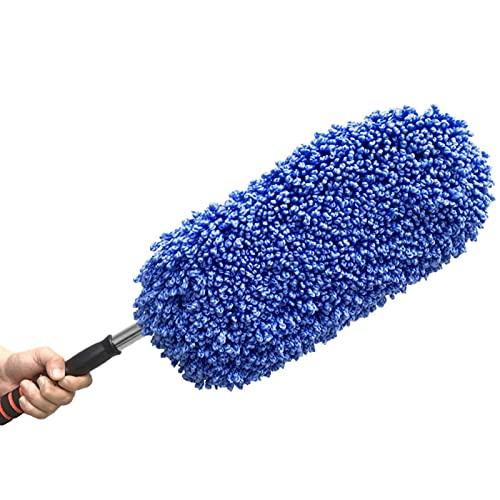 AUTUUCKEE Cepillo de limpieza Telescópico Pasando Agua Plumero de mango largo y Mopa de coche (Azul)