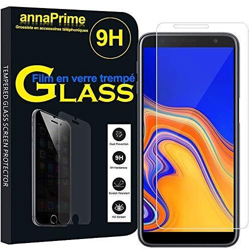 """annaPrime® 1 Film Vitre Verre Trempé de Protection d'écran pour Samsung Galaxy J6+/ J6 Plus (2018) 6.0"""" [Les Dimensions EXACTES du Telephone: 161.4 x 76.9 x 7.9 mm] - Transparent"""