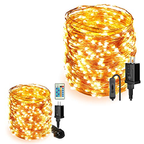Moobibear String Lights Bundle-2 Items, 164ft 500 LEDs Ultra Long Waterproof Copper Wire Lights, Warm White UL Listed Plug in Fairy Light for Room, Patio, Wedding, Party, Christmas Tree
