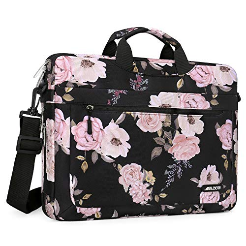 MOSISO Laptop Shoulder Bag Compatible with 13-13.3 inch MacBook Pro, MacBook Air, Notebook, Polyester Peony Messenger Carrying Briefcase Sleeve with Adjustable Depth at Bottom, Black
