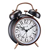 FLOITTUY Loud Alarm for Deep Sleepers 4'' Retro Twin Bell Alarm Clock with Backlight for Bedroom and Home Decoration(Retro Black)