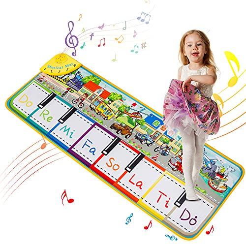 """TWFRIC Piano Mat for Kids, Musical Piano Keyboard Mat with 10 Vehicle Sounds/4 Play Modes Floor Music Mat for Toddlers, Early Educational Music Toys Gift for Boys Girls (43.3"""" x 14.2"""")"""
