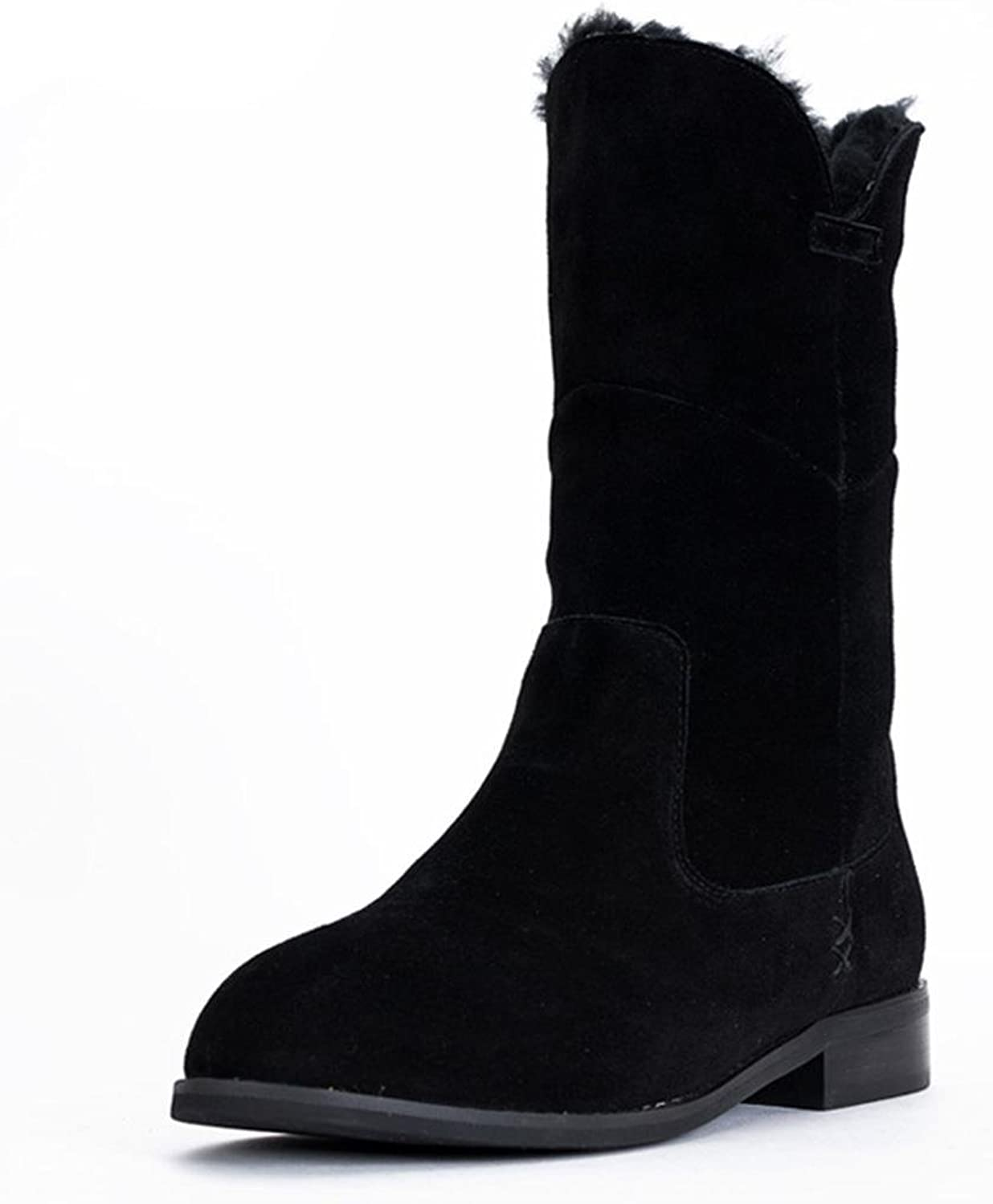 LIUshoes L&L Female Boots Rough with Low-Heeled in The Tube Boots Women's Pointed and Bare Boots
