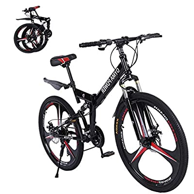 MTFITNESS 2020 New Mountain Bike 21 Speed 3 Spoke 26in Double Disc Brake Bicycle Folding Bike for Adult Teens Bicycle Full Suspension MTB Bikes Black