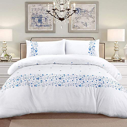 My Home Store Duvet Cover Hotel Quality 200TC Bedding Set Duvet Sets Soft Breathable 100% Poly Cotton Quilt Cover with Pillowcases (Cristina White, Single)