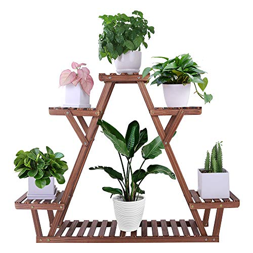 COOGOU Wood Plants Stand for Indoor Plants Tall Flower Pot Shelf Rack Outdoor 5 Tiers Higher and Lower Planter Display Shelving Unit Holder Stand for Plants in Living Room Patio Balcony Garden