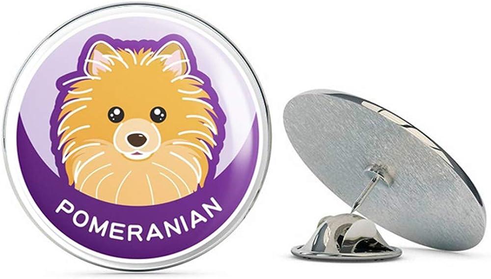 Pomeranian Cartoon Dog Round Metal 0.75