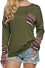 POGTMM Women's Fashion Long Sleeve Casual Loose Pullover Blouse Tops (XXL, Army Green)