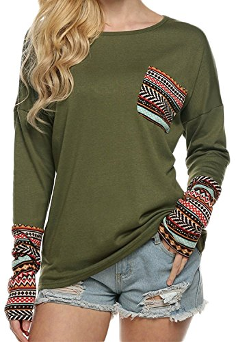 Hount Womens Back Lace Color Block Tunic Tops Long Sleeve T-Shirts Blouses with Striped Hem (Large, Grey)
