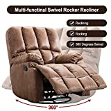 Bonzy Home Recliner Manual Recliner Chair Faux Suede Fabric Swivel Glider Classic Recliner Sofa Chair Home Theater Seating - Bedroom & Living Room Reclining Sofa Chair (Light Brown)