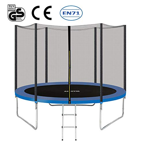 Albott AMGYM 10FT Trampoline with Enclosure for Kids, Trampoline with Safety Net Enclosure and Ladder Garden Outdoor Max Weight 200kg (305cm)