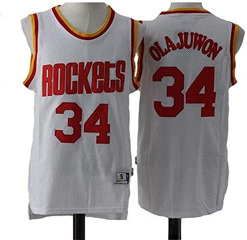 WSUN Camiseta De La NBA para Hombre Hakeem Olajuwon # 34 Rockets Camiseta De Baloncesto Sudadera De Malla Bordada Swingman Sports Top,B,XL(180~185CM/85~95KG)