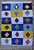 Tapis berbère marocain Authentique Boucharouette en Tissu recyclé 145x105 cm 𝟵𝟮 € 𝑻𝑻𝑪